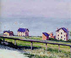 Gustave Caillebotte : Régates en mer à Trouville ; Gustave Courbet : La falaise d'Etretat - La plage de Trouville ; Paul Gauguin : Le port de Dieppe ; Paul Signac : Port en Bessin, Le Catel