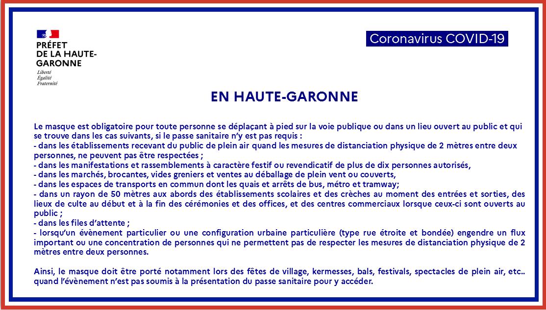 COVID - Extension du port du masque en Haute-Garonne et Toulouse