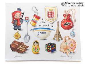 Série de 10 illustrations originales à encadrer mises en vente dans ma boutique Etsy - Aquarelle, crayons de couleur, feutre encre de Chine et gouache - 2021