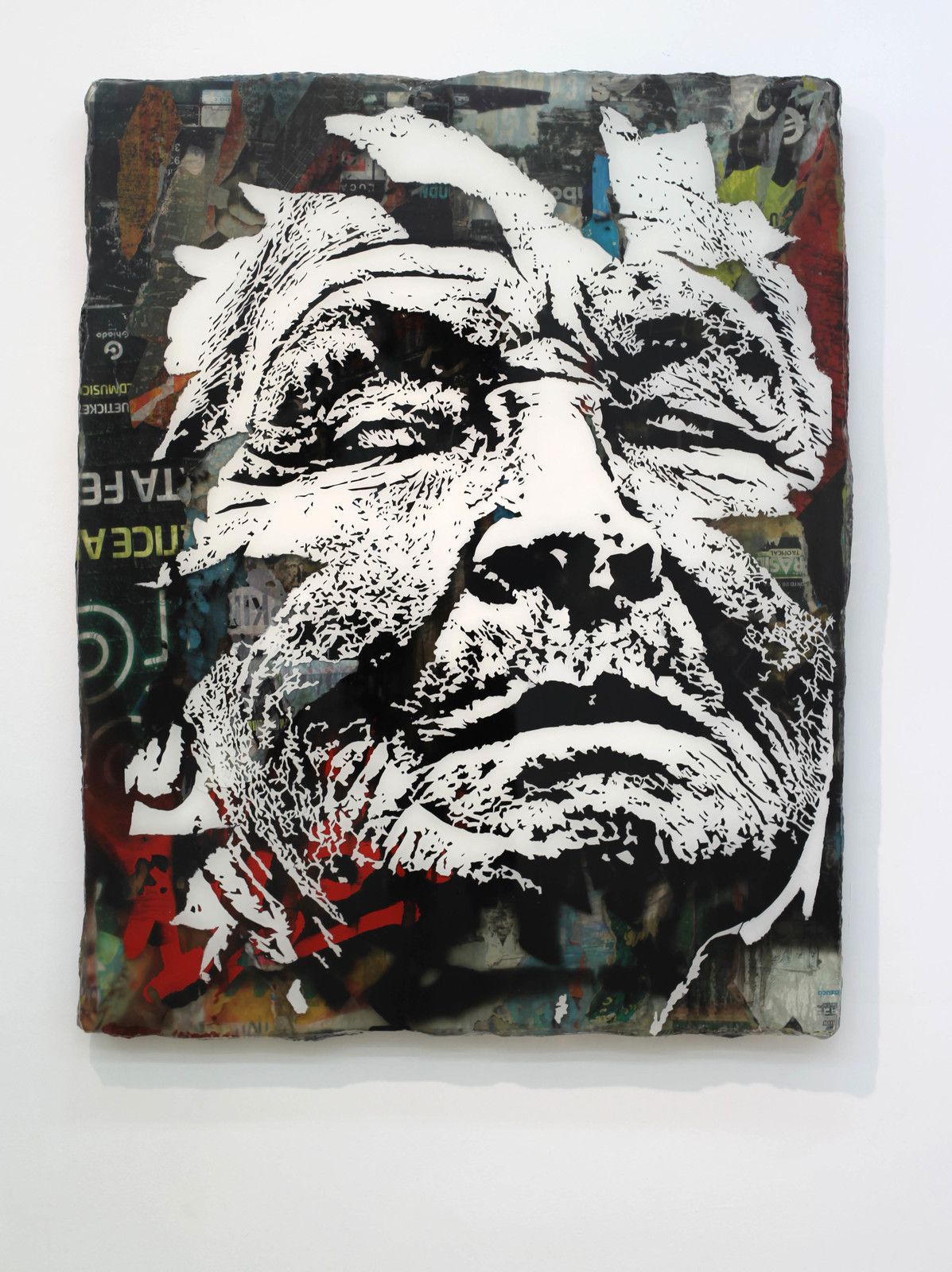 """Eolith series #05"", 2020 de VHILS - Courtesy Galerie Danysz - Paris © Photo Éric Simon"