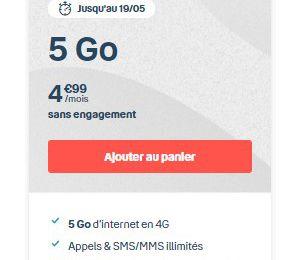 Opérateur mobile : 4,99 euros par mois pour un forfait 5 Go chez Bouygues Telecom