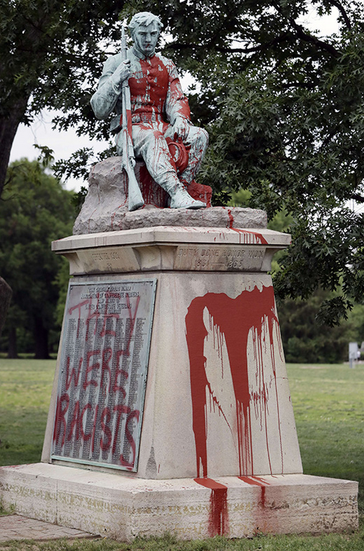 """One of many vandalized statues of Confederate soldiers. Here, the """"Confederate Private Monument"""" erected in 1909 in Nashville, Tennessee and vandalized in June 2019."""