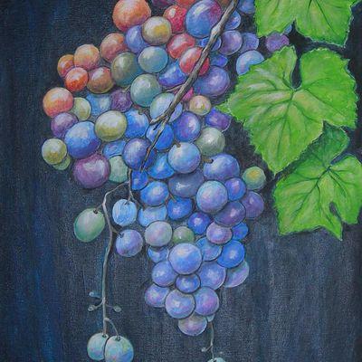 le raisin, les vendanges - peinture contemporaine
