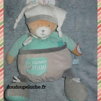Doudou ours range pyjama, Baby nat, vert gris, doudoupeluche.fr