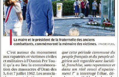 DES COMMUNES DE FRANCE COMMEMORENT LES MASSACRES D'ORAN du 5 JUILLET 1962