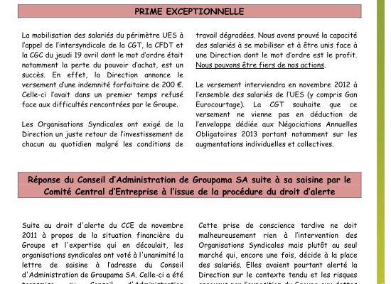 Echos du CCE de l'UES du 14 mai 2012 - Prime exceptionnelle, réponse conseil administration saisine, cession Gan Eurocourtage au pas de charge