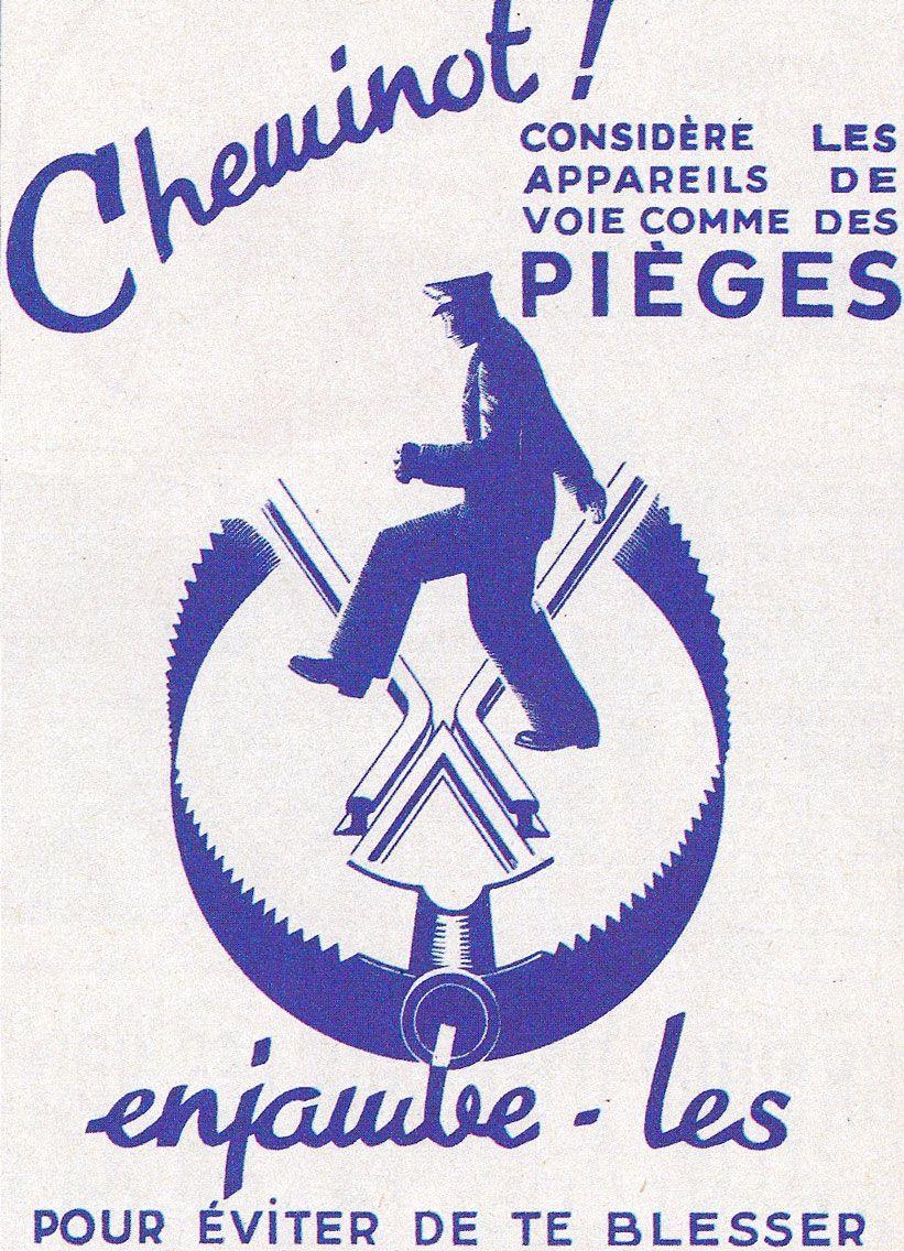 Ancienne affiche de sécurité SNCF.
