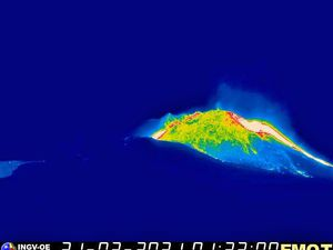 Etna - stop of activity and flow in cooling on 02.21.2021 respectively at 01:33 and 07:09 - EMOT INGV OE webcam