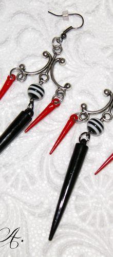 Boucles d'oreille Spikes - Rouges et noires