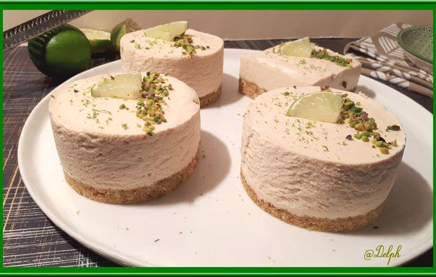 Cheesecake au citron vert et pistache sans cuisson