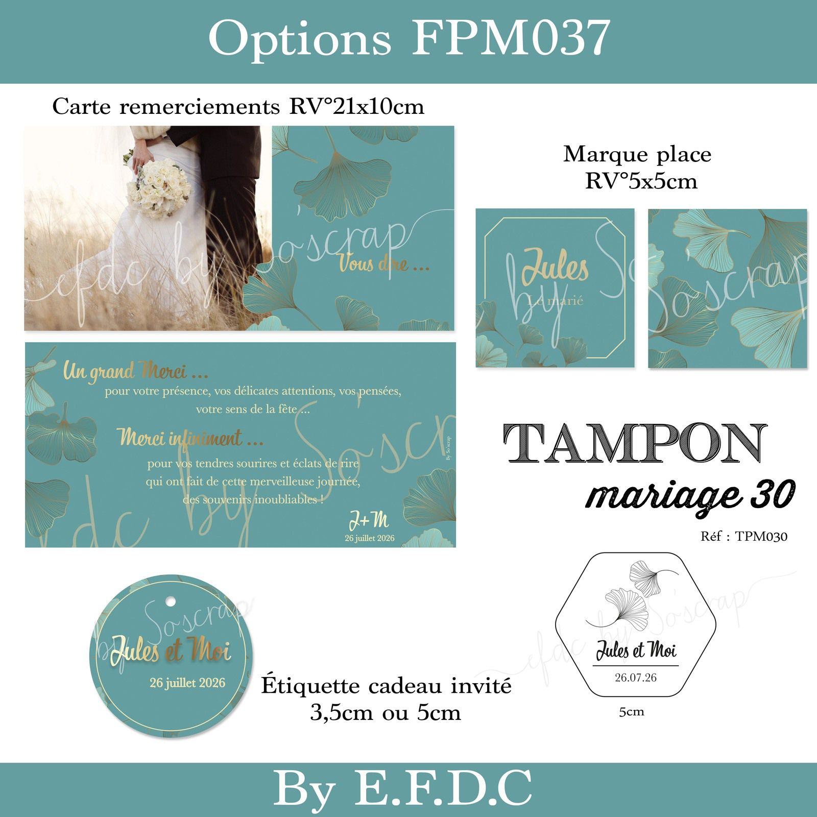 options STD (save the date) menu assorties au faire part de mariage thème rétro ginkgo