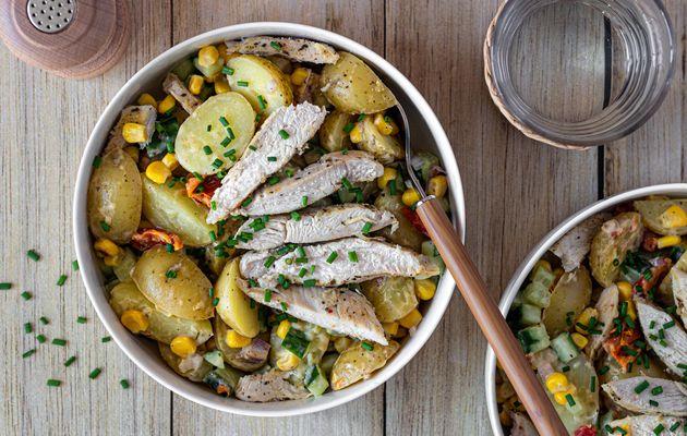 Salade de pommes de terre grenailles au poulet et concombre