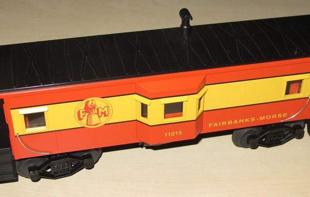 Wagon Caboose Bay Window Fairbanks Morse 3 rails échelle O MTH