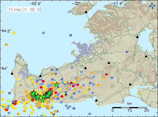 Reykjanes Peninsula - location and magnitude of earthquakes as of 15.03.2021 / 08:10 - Doc. IMO