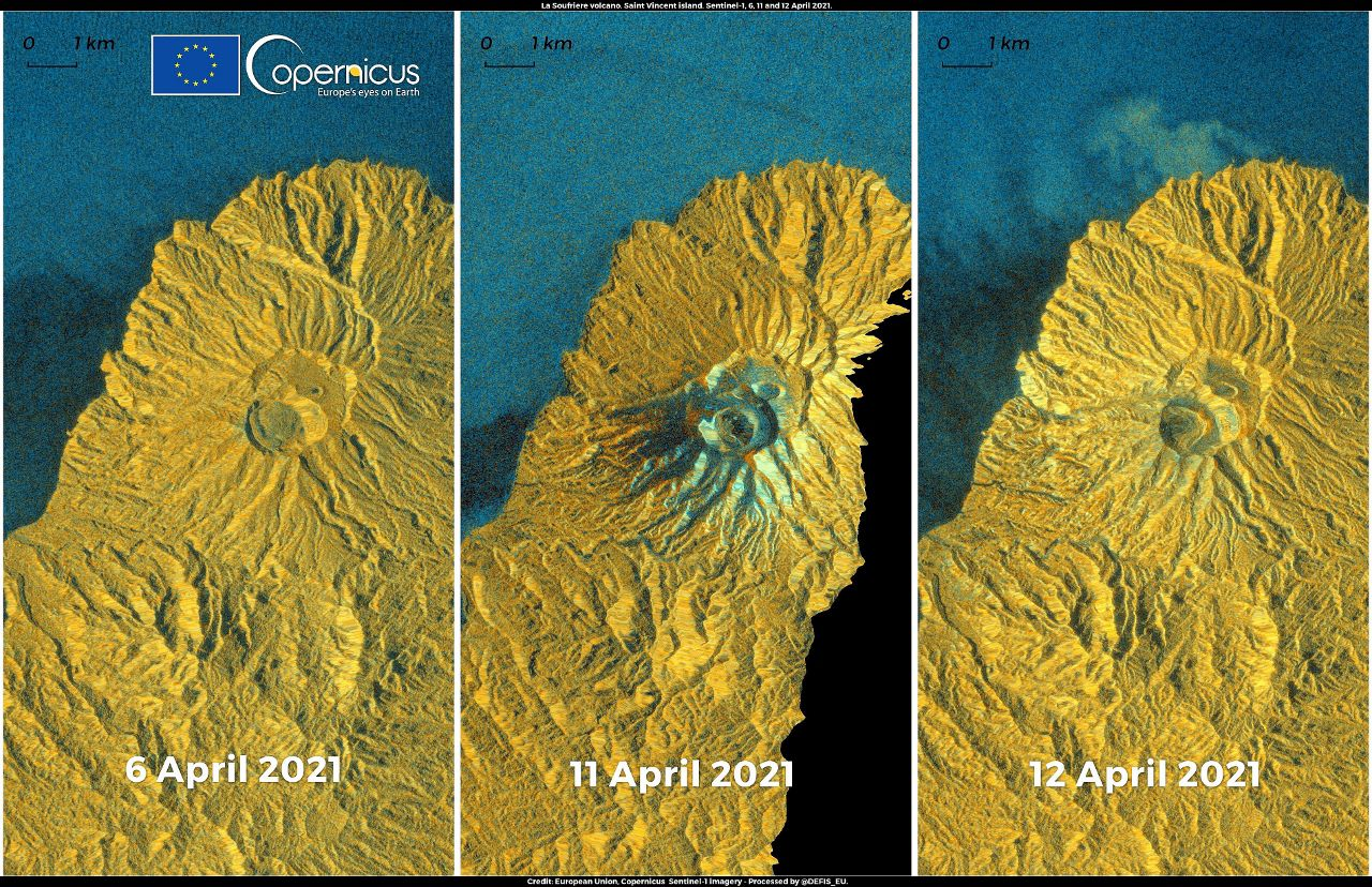 Soufriere de St. Vincent - permanent evolution of the crater between 06.04 and 12.04.20 - Sentinel images -1