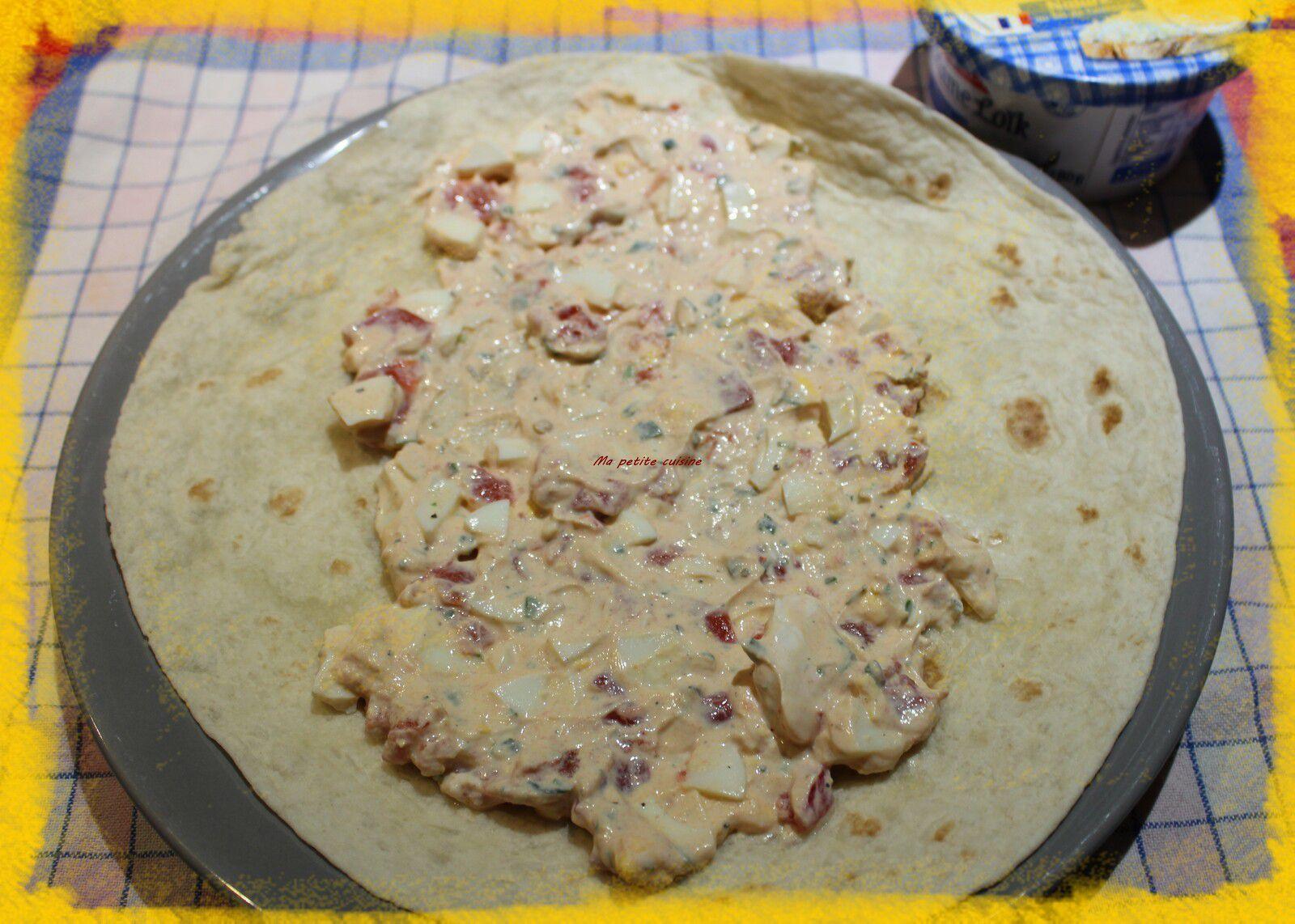 Wrap jambon/œuf et crudités