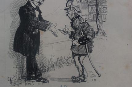 dessin original signé Gonzague Privas pompier (1843-1917 )