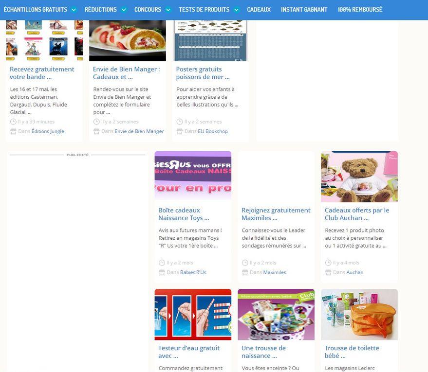 captures d'écrans sites d'échantillons (tous droits réservés) et exemple d'échantillons reçus