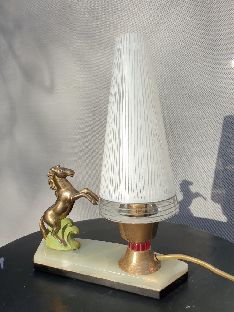 Lampe de chevet cheval cabré Art Déco 1930 - vendu