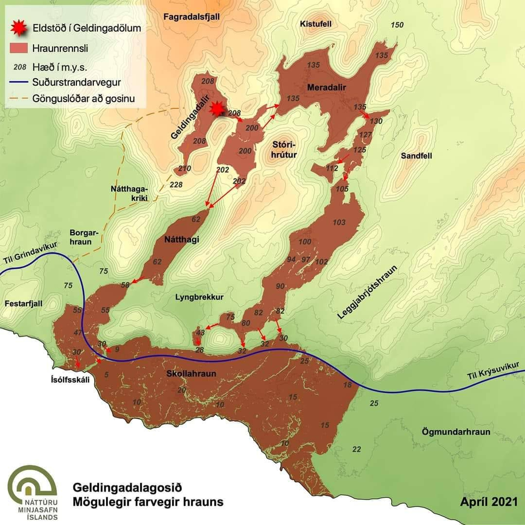 Reykjanes Peninsula - Possible lava flow path if the eruption lasts longer (4-5 months to overflow from Meradalir according to Prof. Magnús Tumi Guðmundsson) - Doc. via Oroapuls April 2021