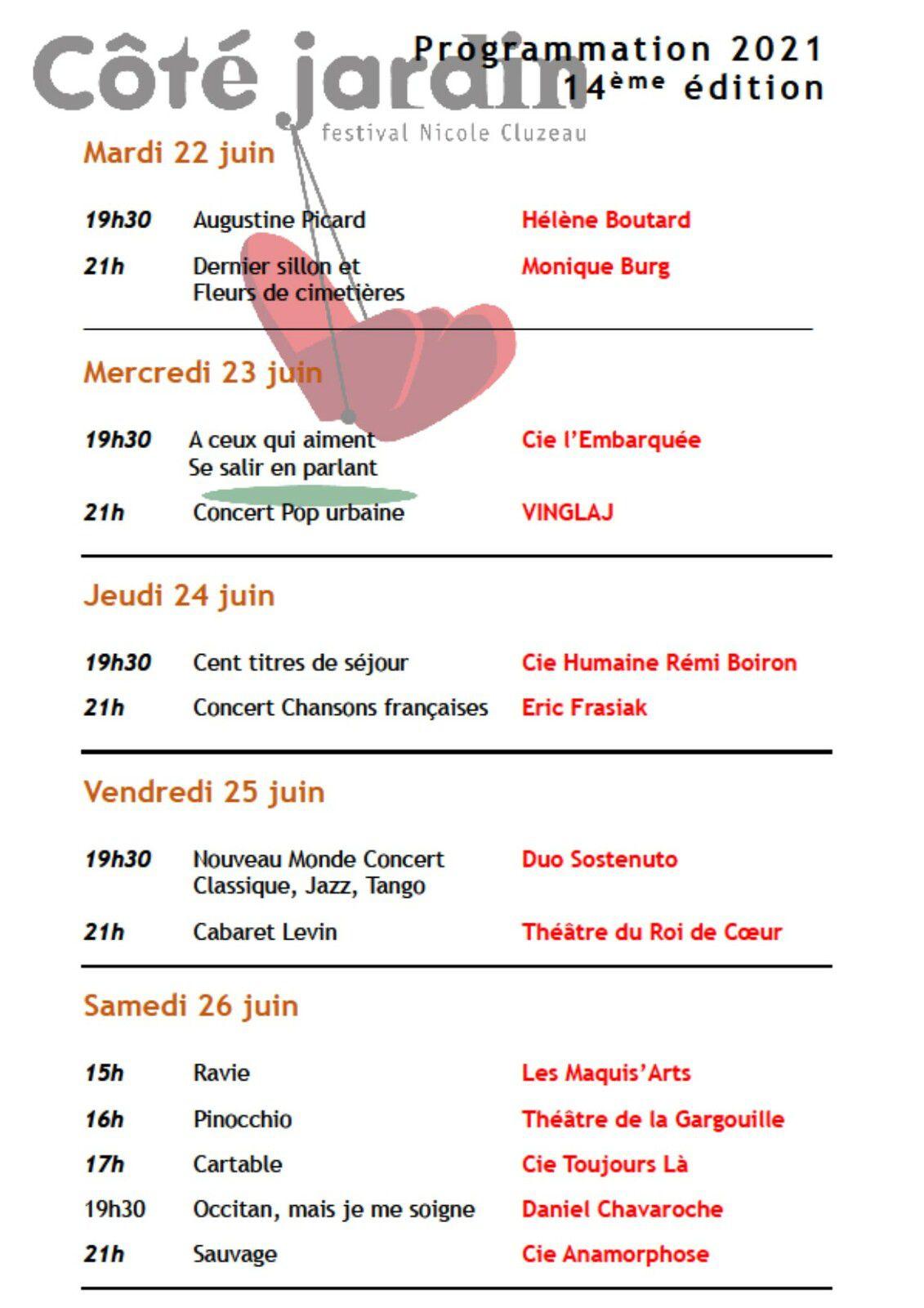 Programmation et Réservations Festival Côté Jardin 2021