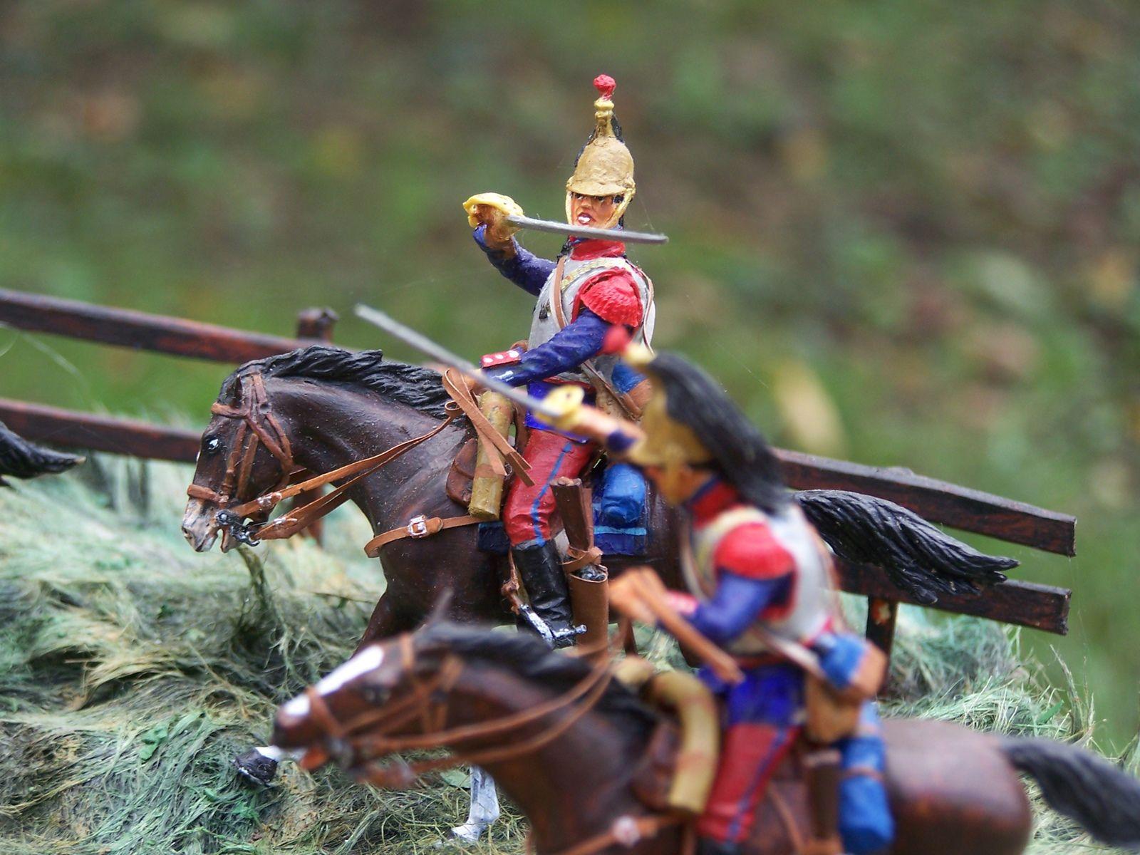 un diorama d'une charge de cavalerie en 1914