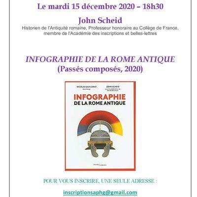 """Un café virtuel de John Scheid autour de son """"Infographie de la Rome antique"""" le 15 décembre"""