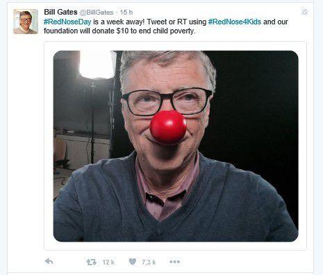 Buzz : Quand Bill Gates porte un nez rouge sur Twitter