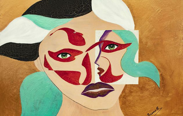 Abstrait , visages face et profil_28