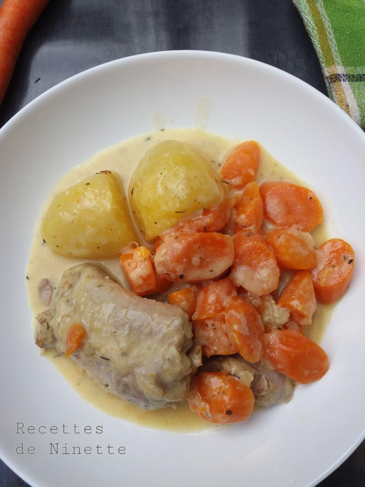 Cuisse de dinde sauce moutarde, carottes et pommes de terre avec ou sans cookéo allégé ww