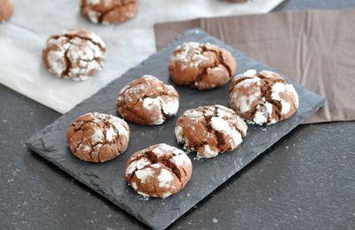 Crinkles au chocolat  (biscuits craquelés moelleux)
