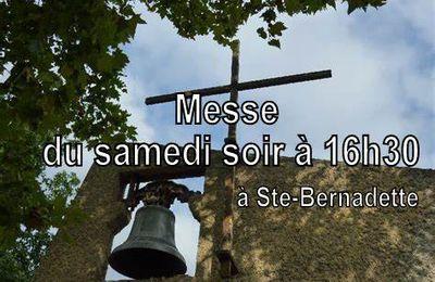 16h30 : Messe anticipée du Dimanche à Ste-Bernadette