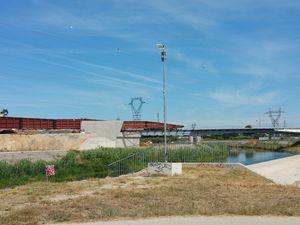 Ouvrages de franchissement du Lez et de la Lironde par l'A9 et la LGV à Montpellier - vues du chantier le 26 juillet 2015