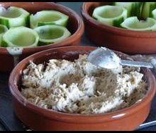 Puits de concombre et rillette de maquereau à la moutarde à l'ancienne