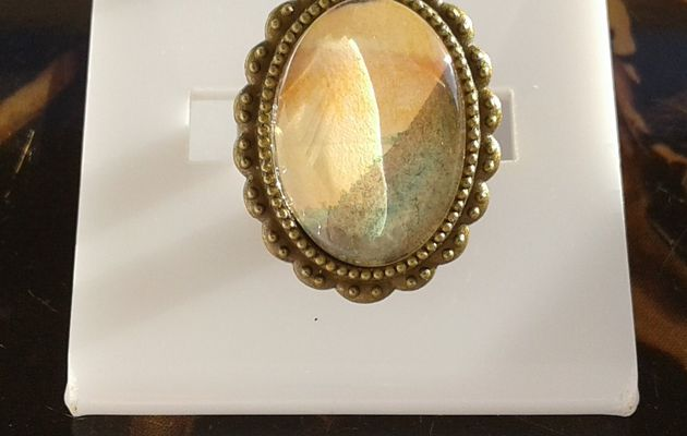 Fait mains en france, par artiste peintre,aquarelle originale isabelle k,vert orange marron,bague laiton bronze ajustable,cabochon oval 13x18mm,fleuri,bijou femme,boho bobo gothique,fashion punk,edouardien art deco,cadeau fete anniversaire,victorien baroque