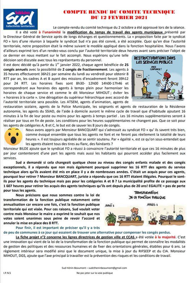 Hénin-Beaumont : le compte-rendu du Comité technique du 12 février fait par le syndicat SUD