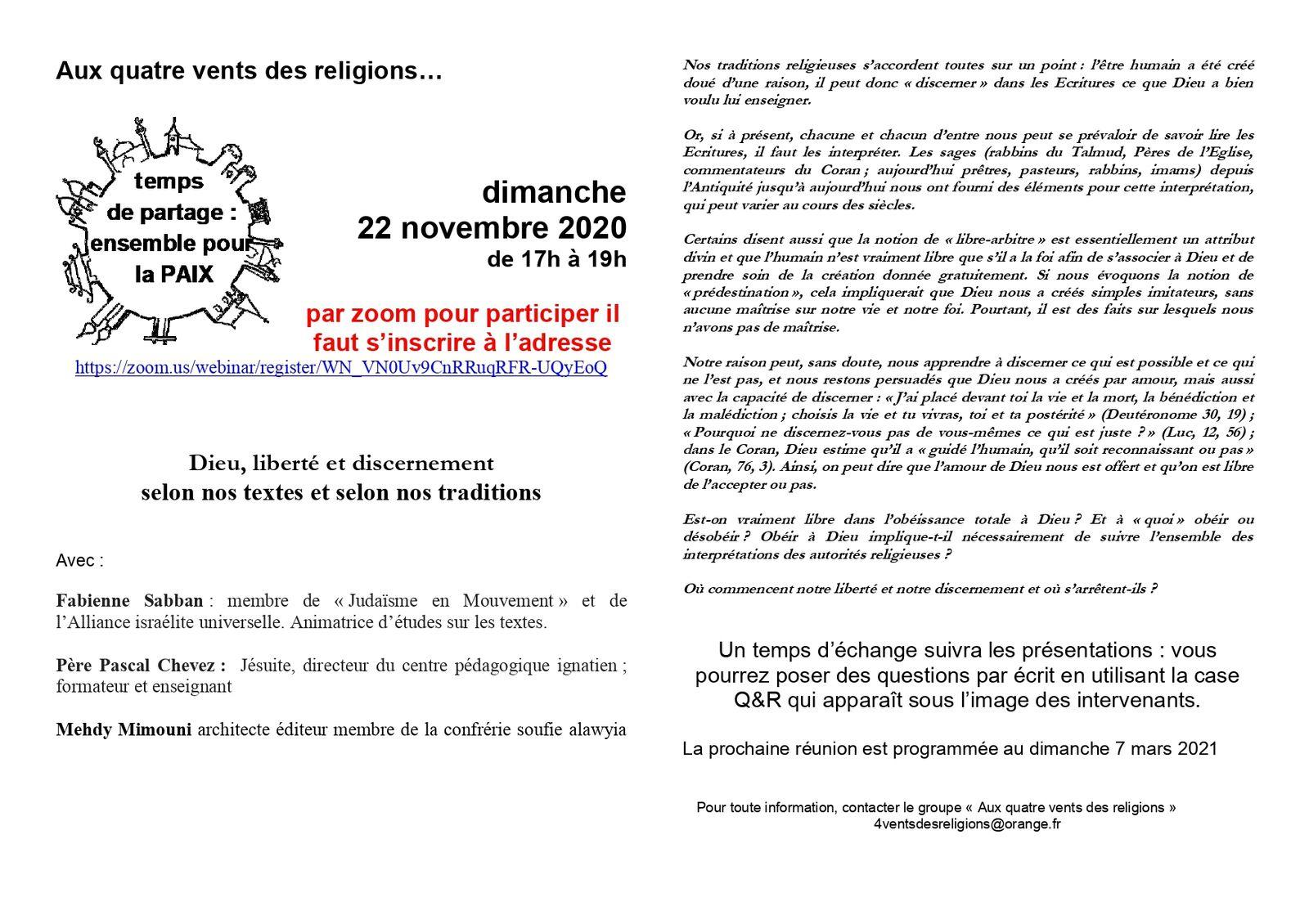 SERIC 2020, 22 novembre, 75000, Paris : Dieu, liberté et discernement