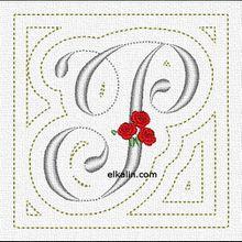 ABC à la rose: la lettre P quiltée