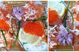 saumon fumé au fromage battus & aux oeufs de saumon