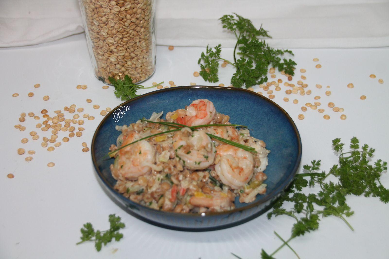 Risotto de coeur de blé aux petits légumes crevettes et boursin