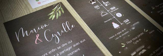 Le faire part de mariage de Marion et Cyrille ... un brin d'olivier !