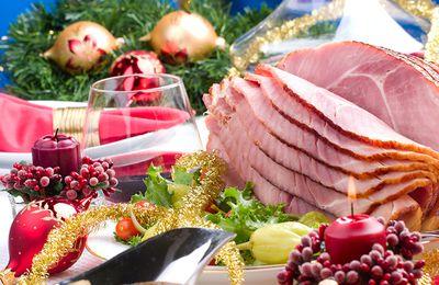 Bon appétit - Nourriture - Table - Fêtes - Jambon - Noël - Décorations - Wallpaper - Free
