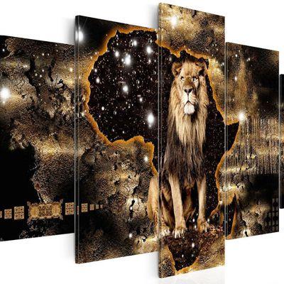 tableau lion sur fond carte afrique 100 x 50 cm