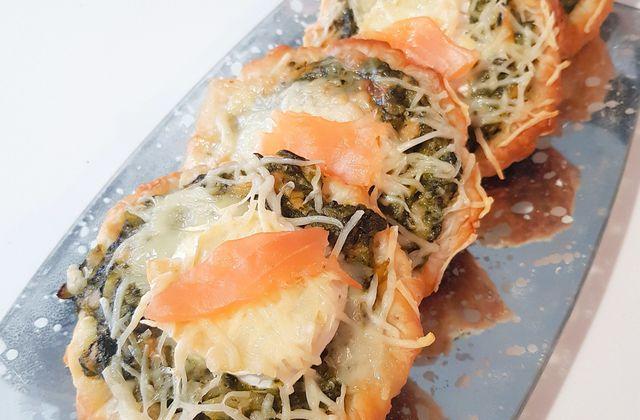 Tartes saumon épinards chèvre