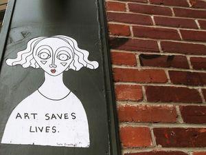 """""""En feu."""" """"L'art sauve des vies."""" Ces deux créations observées seulement cette année datent de 2018. Elles illustrent l'état d'esprit de Sara Erenthal."""