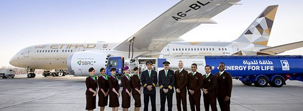 Etihad Airways flies the world's first flight using fuel made in the UAE from plants grown in saltwater by Khalifa University