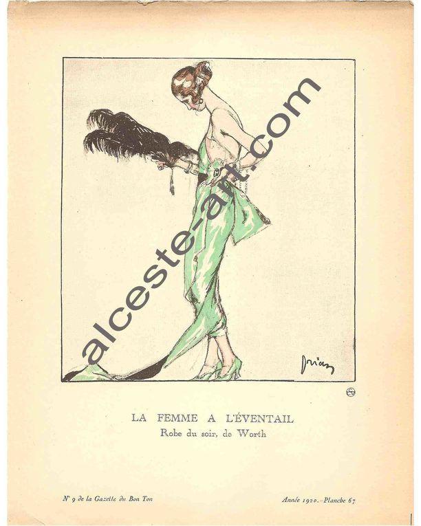 Pochoirs représentant des modèles de couturiers publiés par La Gazette du Bon Ton (1920, n°9) dirigée par Lucien Vogel, et dessinés par les illustrateurs Art Déco Brissaud, Drian, Iacovleff, L'Hom, Leroy, Martin, Marty, Siméon, et, le décora