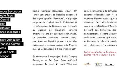 Ballades Sonores LIP, 13 Mars, 20h00, Besançon