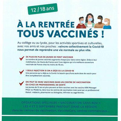 Vaccination des 12/18 ans