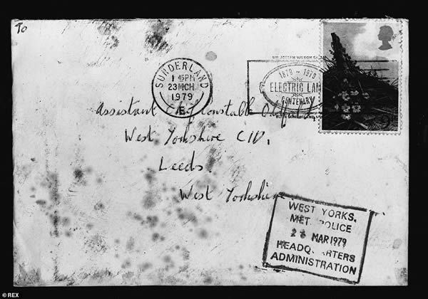 A copy showing an envelope sent to Assitant Chief Constable Oldfield at the West Yorkshire CID, Leeds on 23 March 1978 by John Humble, better known as 'Wearside Jack'